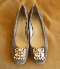 TAHARI DACIA grey suede leather block heel flats w rhinestone buckle 7.5 M EUC