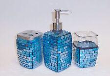 3 Piezas Conjunto Azul Mosaico de Vidrio Jabón,Dispensador + Portacepillos +