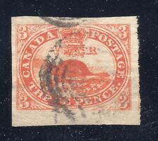CANADA STAMP #4d — 3c BEAVER, THIN PAPER, HUGE MARGINS - W/ CERT - 1852 - USED