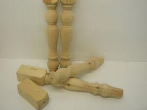 "Set of 4 Knockdown Solid Pine Farmhouse 4"" Table Legs, WT022L"