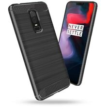 New For Oneplus 6 ShockProof Luxury TPU Rugged Gel Case Cover Carbon Fiber Black