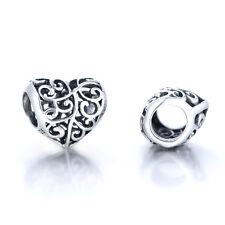 Openwork Heart Charm  - Silver European Bead - Love Hearts Jewellery