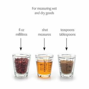 1xKitchen Craft Glass Mini Measuring Cup ml, Teaspoon Shots fl oz Liquid Dry New