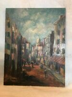 Charles E Rubino Oil on Board Painting Italian Village Listed Artist 1896 -1973