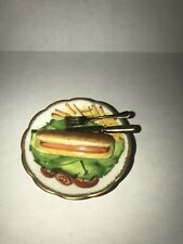 Limoges Box Eximious Hotdog On Plate With Fork And Knief