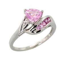 1.14Ct Light Pink Topaz Trillion Diamond Engagement Ring 925 Sterling Silver