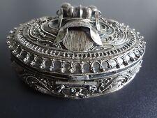 Vintage antique sterling silver trinket jewelry box Bali Dragon ornate design