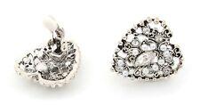 Zest Heart Encrusted Swarovski Crystal Clip-On Earrings Silver