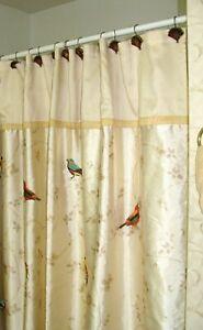 "Avanti Linens Golden Tan ""Embroidered Birds"" Polyester Fabric Shower Curtain!"