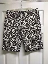 INC International Concepts Brown White Floral Brocade Capri Long Shorts 14