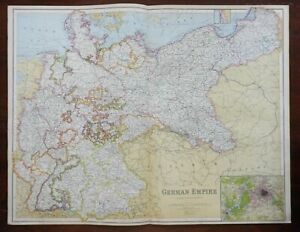 German Empire Kingdom of Prussia Silesia Bavaria Westphalia 1914 Philip map