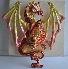 KIRKS FOLLY  DRACO WINGED DRAGON  PIN/ENHANCER NECKLACE IN GOLD TONE
