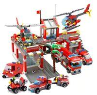 M IDEA REGALO COSTRUZIONI STAZIONE CAMION POMPIERI AUTO ELICOTTERO TIPO LEGO