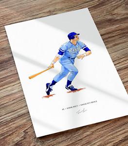 George Brett Kansas City Royals Baseball Illustrated Print Poster Art