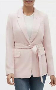 NWT Banana Republic Factory Blush Pink sz 8 Soft Tie-Waist Long Blazer