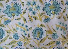 Hand Block Print Running Sanganeri Pure Cotton Fabric 10 Yard Indian Yellow Gift