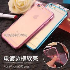 FUNDA SILICONA CROMADO Para iPhone 6 6S 6G GEL ULTRASLIM BORDE EFECTO METALIZADO