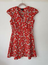 Topshop Red and Ivory Daisy Floral Tea Dress, UK Size 10, Petite Immaculate