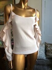 CLUB MONACO BY RALPH LAUREN BLUSH PINK KNIT,OPEN SHOULDER, RUFFLED SWEATER, M