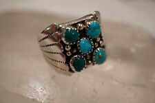 Natural Turquoise Men's Ring Rr Signed Vintage Navajo Old Pawn Sterling Silver