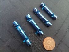 1/12 Scale Empty 4 Blue Christmas Crackers for dollshouse miniature display