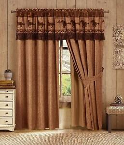 4 pc Brown Rust Cowboy Western Horse Curtains Panels Drapes Pair Valance 84 inch