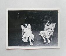 Vintage 1940s B/W Photograph. Two Women in Deckchairs. Print Dresses. Garden