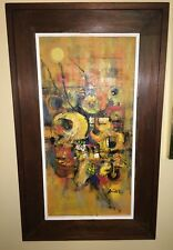 Guillermo Nunez Abstract Large Street Scene Framed oil Painting  Chilean Artist