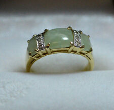 Amazing Green Jade & Diamond Accent 14k Gold Ring Size 7 !
