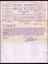 1905 Moving Pictures FILM Early!! MOVIES  Archie L Shepard  New York Letter Head