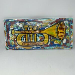 NEW Hand Painted When The Saints Go Marching In New Orleans Multi Color Tray
