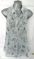 ❤ DOROTHY PERKINS Size 10 Light Blue Yellow Floral Bird Blouse Top Birdcage
