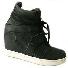 ASH Cool High Top Wedge Trainer Black Leather Ankle Boot Sneaker Booties 39 8