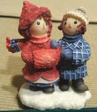 Vtg Raggedy Ann Andy Winter Figurine To Have a Friend Is To Be Happy Enesco