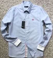 Fred Perry Men Casual Dress Shirt Light Blue Checks Long Sleeve Cotton Large