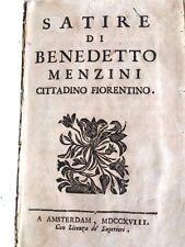Libro Satire di Benedetto Menzini Cittadino Firenze Arcade Euganio Libade 1718