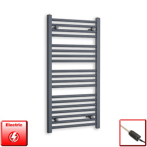 500mm Wide 1000mm High Flat Anthracite Pre-Filled Electric Towel Rail Radiator