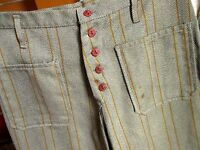 29x28 True Vtg 60s mens CLOTHY GREY/GOLD PINSTRIPE TWILL BOOTCUT BUTTONFLY JEANS