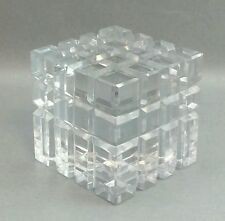 Clear Art Glass Square Block Paperweight Paper Weight cube heavy