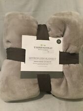 Threshold MicroPlush Blanket Twin size - Cozy with Extra Warmth Light Gray