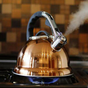 3.5 LITRE COPPER STAINLESS STEEL WHISTLING KETTLE GAS ELECTRIC & INDUCTION HOBS