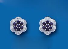 Sapphire Earrings Diamond Stud Sterling Silver Studs Natural Sapphire & Diamond