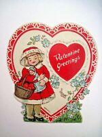 Precious Little Vintage Die Cut Valentine w/ Girl Holding Doll & Basket -German*