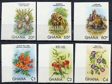 GHANA 1982 ANIMALS & FLOWERS SC#782-87 MNH IMPERF//nonDENTELE (DEL18)