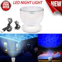 12 LED Multicolor MP3 Phone Speaker Ocean Wave Light Projector LED Night Light