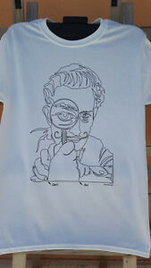 Oneliners Surrealist T-Shirt, One Continuous Line drawing screen printed.