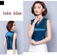 Lady Satin Ruffles Vest Faux Silk Tank Tops Sleeveless Shirt Camisole V Neck Tee