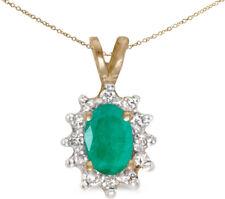 14k Yellow Gold Oval Emerald and Diamond Pendant (no chain) (CM-P6410X-05)