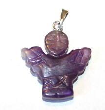 Guardian Angel Purple Amethyst Crystal Pendant Reiki Blessed in Lavender Bag