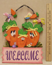 GARDEN WELCOME WOODEN SIGN CARROT FAMILY BUTTERFLY